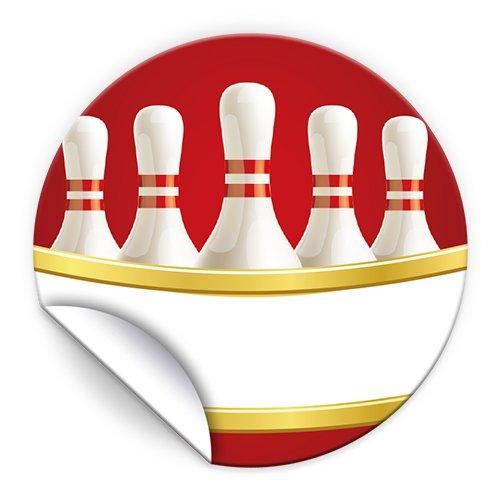 JuNa-Experten 24 Aufkleber Bowling rot für Geschenkverpackung / Sticker für Verpackung von Gastgeschenk Mitgebsel / Kindergeburtstag / Party-Deko