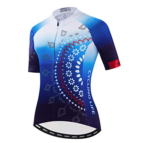 Weimostar Damen-Radtrikot Kurzarm Outdoor Mountainbike Tops Schwarz Blau XL