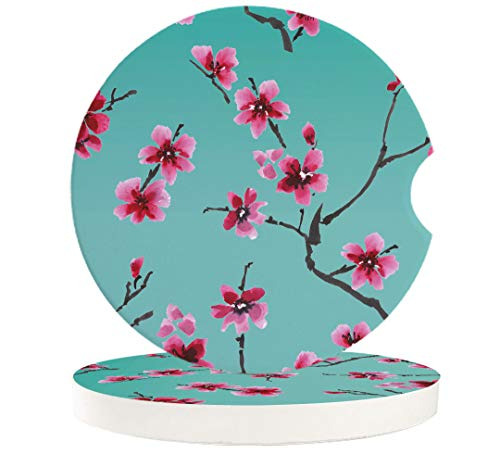 Car Coasters for Drinks Set of 2 | Cherry Blossoms in Spring | Perfect Car Accessories with Absorbent Coasters, 2.56 inches Auto Cupholder Coaster