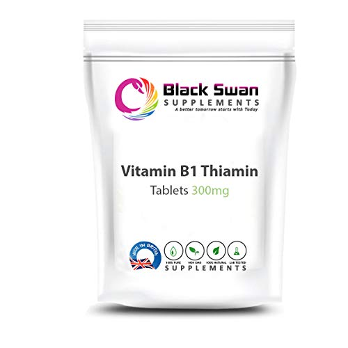 Black Swan Thiamin Vitamin B1 Supplements - Strong antioxidant Properties - Support Healthy Skin, Nervous System and Energy Level - 300 mg Tablets (120 Tabs)
