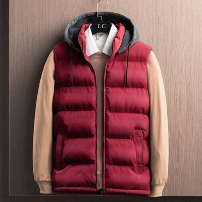 LYLY Vest Women Spring Winter Sleeveless Youth Jacket for Men Fashion Warm Hooded Male Cotton Work Waistcoat Gilet Homme Vest Vest Warm (Color : Red, Size : S)