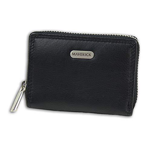 Maverick Leder Geldbörse Brieftasche Portemonnaie schwarz 10x2,5x7cm D1OPD1130S Leder Geldbörse von Maverick für die Frau