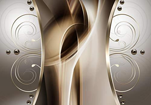 wandmotiv24 Fototapete Silber Schnörkel mit Perlen Brauntöne L 300 x 210 cm - 6 Teile Fototapeten, Wandbild, Motivtapeten, Vlies-Tapeten Abstrakt Braun M6122
