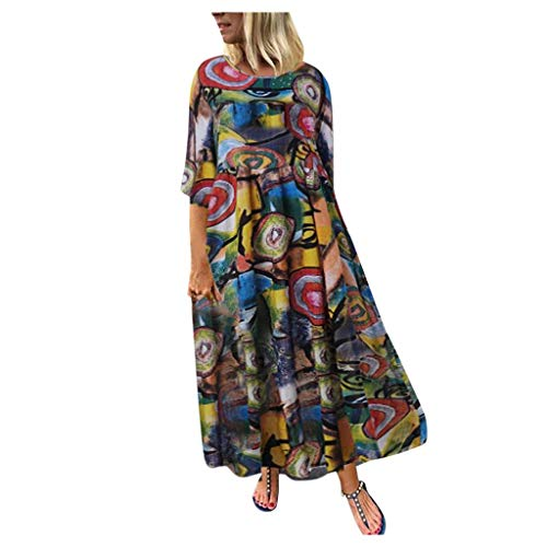 MRULIC Damen Kleid Kurzarm Rundhals Sommerkleider BöHmen Drucken Mollige Lose Maxikleid Vintage Casual Strandkleider Party Kleider Abendkleid(A-Grün,4XL)