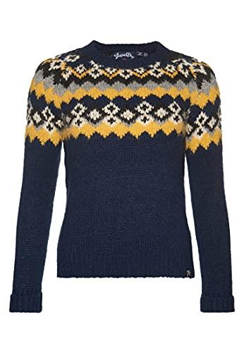 Superdry Savannah Yoke Jacquard Knit Pull, Bleu (Eclipse Navy 98T), L Femme