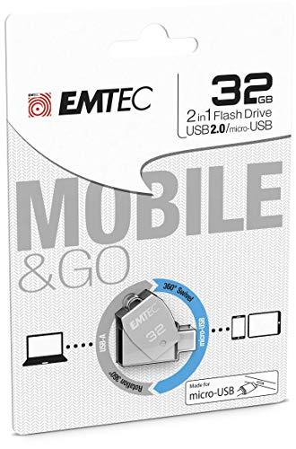 Emtec ECMMD32GT252B - Clé USB - 3.0 (3.1) - Série Dual - Collection MobileGo T250B - 32 Go - 2 en 1 : OTG Dual Double Connectique USB / Micro-USB métal