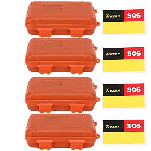 Caja de almacenamiento de supervivencia, 4 piezas, herramienta para exteriores, pequeña caja de almacenamiento de supervivencia, contenedor de sellado impermeable resistente a la presión a prueba de s