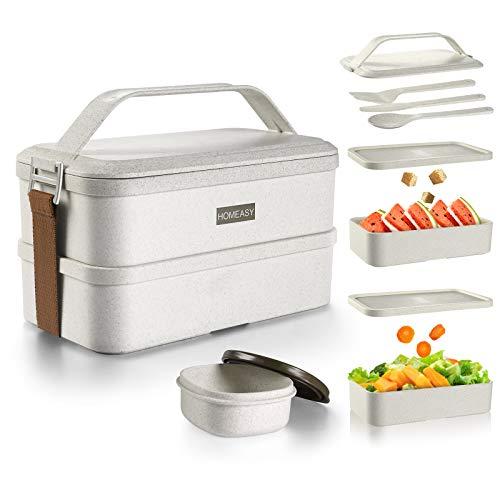 homeasy Bento Box, Fiambrera para Adultos, Material Ecológi