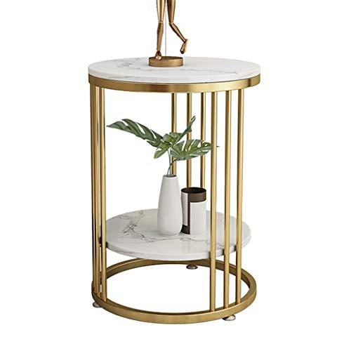Mesas de Centro, Mesa Auxiliar de mármol Mesa de café Patas de Hierro de Metal Dorado, mesita de Noche con mesita de Noche para el balcón de la Sala de Estar, Alto 45cm