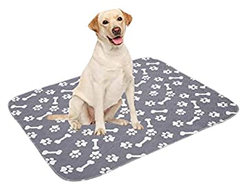 4 Pack Non-Slip Dog Pee Mat Crate Pad for Pets Dogs Cats Washable Reusable Dog Pads and Dog Training Pad with Soft Cotton Blend Leak Proof Super Absorbency - Gray - S