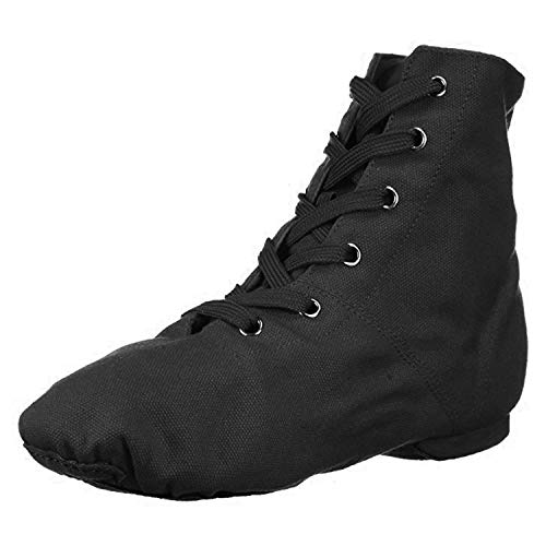 Danzcue Womens Black Canvas Lace up Jazz Boot Shoes, 8 M US