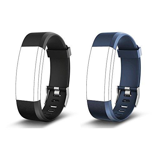 endubro Pulsera Repuesto para Fitness Tracker ID115 HR Plus (Negro + Azul)