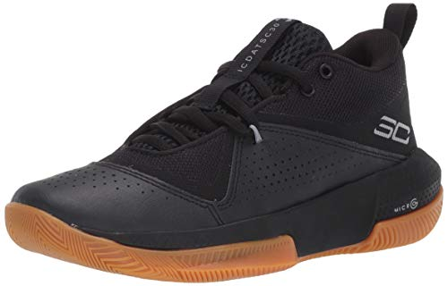 Under Armour Grade School Steph Curry 3ZER0 IV Basketball Shoe, Black (003)/Black, 7 US Unisex Big Kid