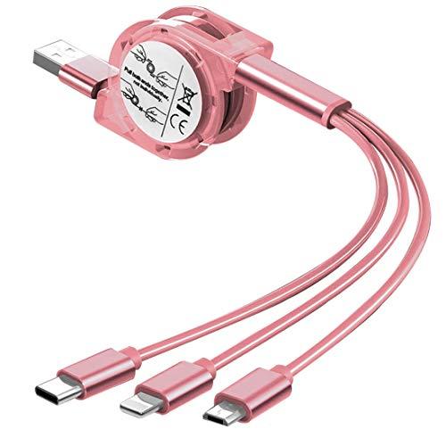 Cable de carga rápida retráctil múltiple, cable de carga USB 3 en 1 con conector micro USB tipo C para iPhone, compatible con tabletas Android, Samsung Huawei Phone y más universal, 1 m