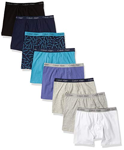 Calvin Klein Boys Underwear 8 Pack Boxer Briefs-Basics Value, Mixed Pack, XL (16 18)