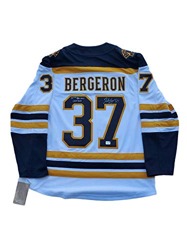 Patrice Bergeron Boston Bruins signed C Away Jersey inscribed 20th Bs Capt