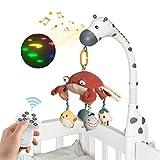 Cuna musical para bebé con espejo, juguetes para colgar canciones de cuna, luces y música, mando a distancia giratoria musical con 4 modos de proyección, luz de estrellas, juguete para cuna