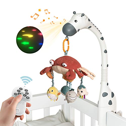 tumama Baby Musical Cot Crib Mobile Remote Control with Mirror Soft Animals Hanging Toys Lights Lullaby Rotating Projector Sleeping,Piano,Natural Music,Auto Off,Mute Spin Motor Infant Newborn Gift