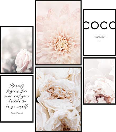 Papierschmiede® Mood-Poster Set Coco Blüten | 6 Bilder als stilvolle Wanddeko | 2X DIN A4 und 4X DIN A5 | Beauty Pfingstrose Schönheit - ohne Rahmen