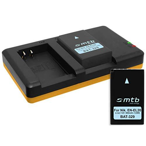 2 Baterías + Cargador Doble (USB) para EN-EL20(A) / Nikon Coolpix A, DL24-500 / Nikon 1...