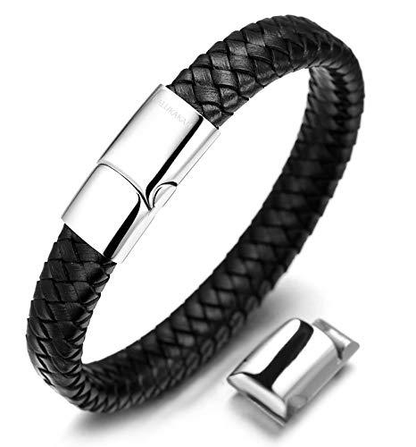 Halukakah Kids  Solo Junior  Boy's Genuine Leather Bracelet Black 6-12+3 Y/O. Titanium Magnetic Clasp Size Adjustable 7'-7.7'(18-19.5cm) with Free Giftbox