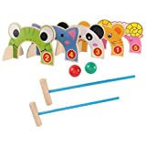 TOYANDONA Children Croquet Set Jungle Animal Croquet Game Set Classic Outdoor Lawn and Party Game Parent- Child Interactive Toy for Kids 2 Player Sets