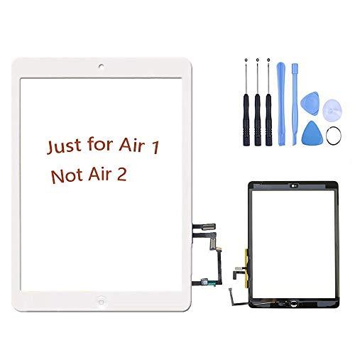 Hedywei Schermo Touch Glass Digitizer di ricambio per iPad air iPad 5 con Tasto HOME Bianco