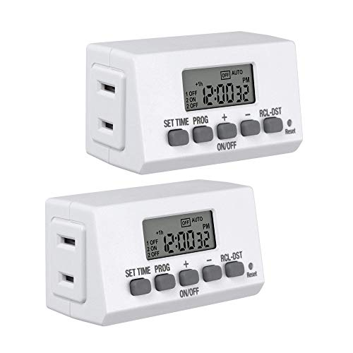 BN-LINK Digital Timer Outlet 24-Hour Programmable Digital Outlet Timer 2 Pack 2 On/Off Programs 2-Prong Mini Indoor Easy Set Stackable Plug-in for Lights Lamps Fans Accurate 8A/1000W 1/3HP