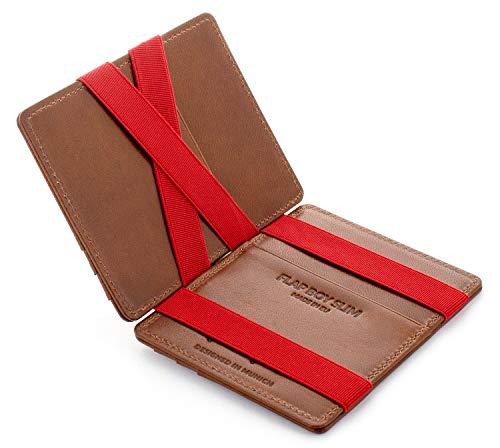 Jaimie Jacobs JAIMIE JACOBS Flap Boy Slim - Das Original - Magic Wallet ohne Münzfach integrierter RFID Schutz Magischer Geldbeutel Echtleder (Dunkelbraun mit Rot)