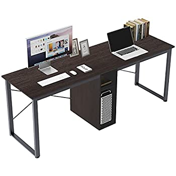 DlandHome Double Computer Storage Desk 78 inches Extra Large Home Office 2 Person Desk Multifunction Gaming Table Workstation for Home Office Walnut Black LD-H01