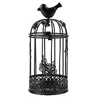 装飾的な鳥かごキャンドルホルダーヴィンテージ中空アウトレトロケージ形状家の装飾の結婚式の机のテーブル(black)