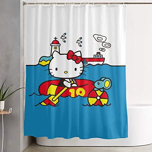 LIUYAN Duschvorhang mit Haken – Hello Kitty Pool Time Wasserdichter Polyester-Stoff Badezimmer-Dekoration 152,4 x 182,9 cm