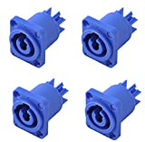 Yongle YLAC3MCA 4-Pack PowerCon Lockable Cable Connector Power-in Socket, Screw terminals, Blue