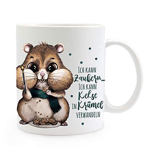 ilka parey wandtattoo-welt® Tasse Becher Hamster mit Kekse & Spruch Ich kann Zaubern Kaffeebecher Teetasse Geschenk ts1165