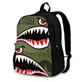 Flying Tiger Shark Sticker Mochila de ciclismo al aire libre con capacidad antirrobo para adultos, Black (Negro) - Black-48