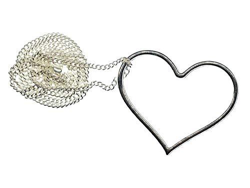 Miniblings Collar de corazón hecho a mano, cadena de 60 cm, con eslabones plateados