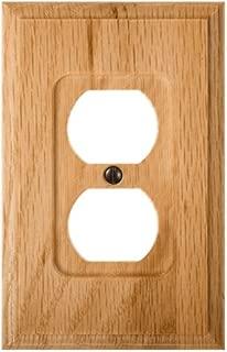 Amerelle Traditional Single Duplex Wood Wallplate in Light Oak