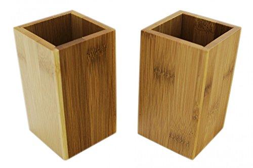 Zahnputzbecher Set eckig aus Bambus Holz braun - 2er Set für Paare im schönen Design