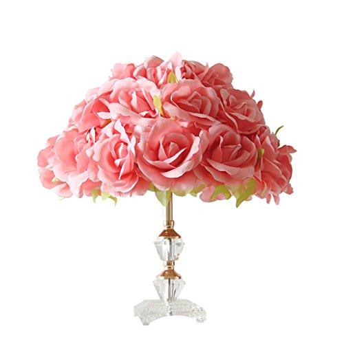 &die Tischleuchte Rose Tuch Schlafzimmer Licht Nachttisch Lampe Kreative Licht Romantische Blume Tischlampe ( Farbe : Rot )