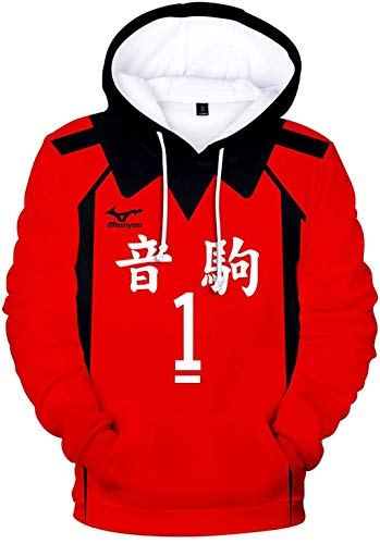 Xiao Maomi Haikyuu Nekoma High School Volleyball Uniform Kozume Kenma Cosplay Costume Hoodie Pullover (M, 2(Kuroo Tetsurou))
