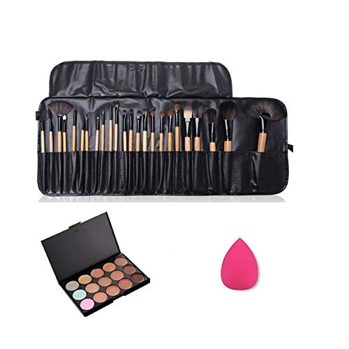 Pure Vie Pro 24 Pcs Make Up Brushes + 1 Sponge Puff + 15 Colors Cream Concealer Camouflage Makeup Palette Contouring Kit for Salon and Daily Use