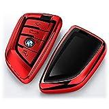 BMW キーケース キーカバー スマートキー キーホルダー スマート ケース 保護 前面保護 傷防止 高級感 1 2 3 5 6 7 8 シリーズ X1 X2 X3 X4 X5 X6 X7 Z4 専用 (レッド)
