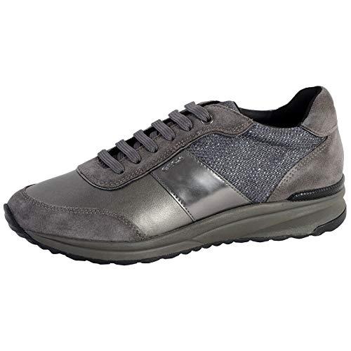 Geox Damen D AIRELL A Sneaker, Grau (Dk Grey/Gun C9f1g), 36 EU