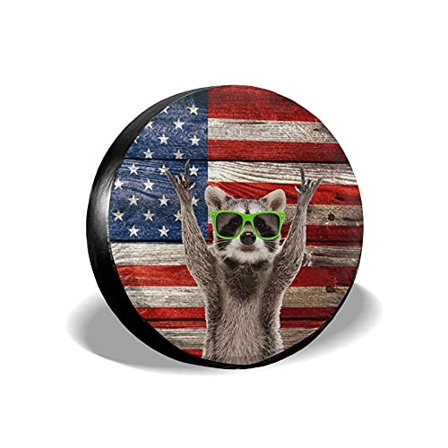 Hitamus Funny Raccoon Spare Tire Cover Universal Fit for Jeep Wrangler Rv SUV Truck Travel Trailer and Many Vehicles 14' 15' 16' 17' Waterproof Dust-Proof Tire Wheel Protector