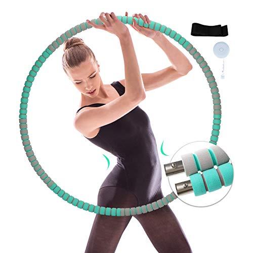 Hula Hoop Reifen Erwachsene, Stabiler Edelstahlkern mit Premium Schaumstoff, 6 Segmente Abnehmbarer Hula Hoop, Gewichten Einstellbar von 1,2 bis 3,4 kg, Geeignet für Fitness/Zuhause/BüRo/Bauchformung