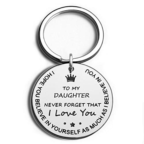 Excalove Inspirational Graduation Gifts Keychain 2020 for Her to Daughter from Mom Dad Mothers Day for Teen Girls Women Never Forget That I Love You Birthday Christmas Valentine's Day Keyring, Silver, Small