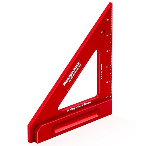 Woodpeckers Carpenters Precision Square, 6 Inch, Speed Combination 90 and 45 Degree, Red Anodized Aluminum, Woodworking Tools Made in the USA For Carpentry Furniture Building