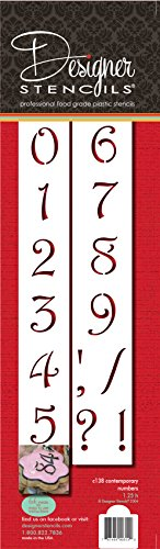 Designer Stencils C138 1.25 Inch Contemporary Numbers Cake Stencils, Beige/semi-transparent