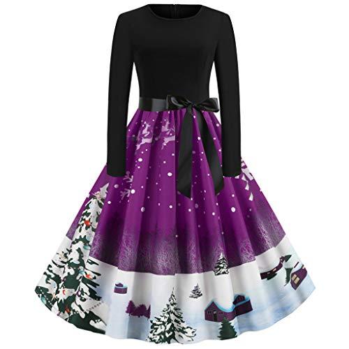 Alwayswin Frauen Langarm Weihnachtskleid 50er Jahre Vintage Kleid Party Abendkleid Knielang Schwingen Kleid Rockabilly Kleid Cocktailkleider Elegant Petticoat Kleider Hepburn Kleid