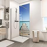 Schulte 4061554000515 Panneau Mural pour Salle de Bains DecoDesign Photo, revêtement décoratif Douche, Motif Ponton de Maldives, 90x210 cm